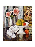Still Life with Bowl of Fruit and a Vase of Pink Roses Giclee Print by George Leslie Hunter