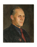 Portrait of a Man with War Medal, 1950s Giclee Print by Konstantin Lekomtsev