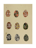 Coloured Eggs with Ethnic Russian Patterns, 1950s Giclee Print by Nina Ivanovna Shirokova