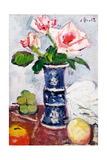 Pink Roses in a Chinese Blue and White Gu-Shaped Vase Giclee Print by George Leslie Hunter