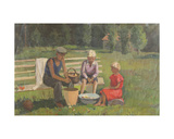 Children Cleaning Mushrooms, 1930s Giclee Print by Konstantin Lekomtsev