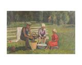 Children Cleaning Mushrooms, 1930s Giclee Print by Konstantin Lekomtsev