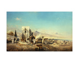 A Neopolitan Village with Vesuvius in the Distance, 1889 Giclee Print by Robert Alott