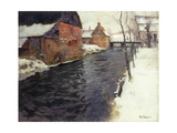 A Winter River Landscape, 1895 Giclee Print by Fritz Thaulow