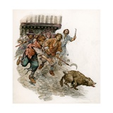 Chasing a Wild Dog Through the Streets Giclee Print by Peter Jackson