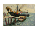 Trawler by the Pier in Gurzuf, 1960s Giclee Print by Svetlana Ryazanova
