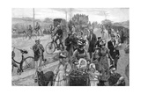 Street Scene with Many Bicycles Giclee Print by William Hatherell