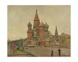 St. Basil's Cathedral on the Red Square, 1950s Giclee Print by Konstantin Lekomtsev