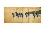 Six-Panel Screen Depicting Cranes, Edo Period Reproduction procédé giclée par Ogata Korin