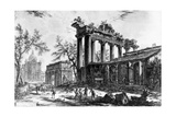 View of the Temple of Concord with the Arch of Septimius Severus and the Church of Santa Martina,… Giclee Print by Giovanni Battista Piranesi