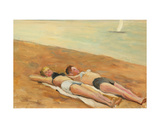 Girls on the Beach on the Baltic Sea, 1950s Giclee Print by Konstantin Lekomtsev