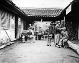Itinerant Barbers at a Country House, China, C.1875 Photographic Print by William Saunders