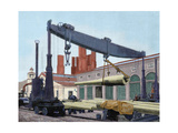 Trubia Factory. Transporting the Guns Destined to Battleship Pelayo. Spain. Asturias Giclee Print