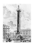 View of the Column of Marcus Aurelius in the Piazza Colonna, from the 'Views of Rome' Series,… Giclee Print by Giovanni Battista Piranesi