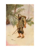 Robinson Crusoe Sees a Footprint in the Sand. I Stood Like One Thunderstruck. Colour Illustration… Giclee Print