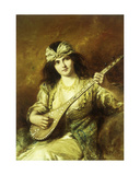 Odalisque with a Mandolin Giclee Print by Agapit Stevens