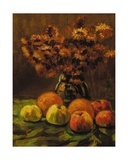 Apples, Oranges and a Vase of Flowers on a Table Giclee Print by Frans Mortelmans
