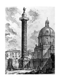 View of Trajan's Column and the Church of Ss Nome Di Maria, from the 'Views of Rome' Series, C.1760 Giclée-tryk af Giovanni Battista Piranesi