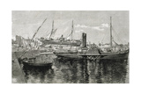 Spain. Catalonia. Barcelona. Port. Engraving Giclee Print