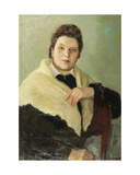 Portrait of a Lady in White, 1930s Giclee Print by Konstantin Lekomtsev