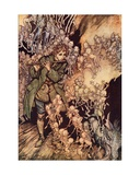 He Played Until the Room Was Entirely Filled with Gnomes' Illustration by Arthur Rackham from… Giclee Print by Arthur Rackham