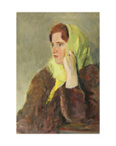 Girl in Green Scarf, 1950s Giclee Print by Konstantin Lekomtsev