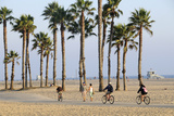 People Cycling the South Bay Cycle Route in the Town of Santa Monica Near Los Angeles Photographic Print