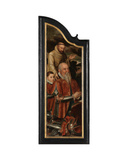 Left Panel of Christ on the Cross with the Virgin, St. John and Mary Magdalene Giclee Print by Pieter Claeissens
