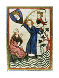 Pteffel, Poet of the 13th Century, Fishing for His Beloved. Codex Manesse (Ca.1300) Giclee Print