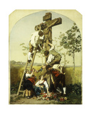 Decorating the Shrine, 1854 Giclee Print by Gustave Brion
