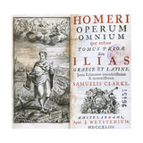 Homer (8th Century B.C.). Greek Epic Poet. Frontispiece and Cover of the Complete Works. Volume… Giclee Print