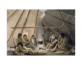 Interior of a Cree Indian Tent, 1824 Giclee Print by Lieutenant Hood
