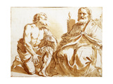 Seated Bishop and Kneeling Saint Giclee Print by  Guercino