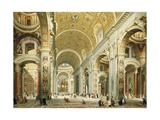 Interior of Saint Peter's Rome, Looking West Towards the Tomb of St. Peter Giclee Print by Giovanni Paolo Panini