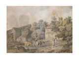 A Farmyard with Figures and Cattle, 1793 Giclee Print by Francis Wheatley