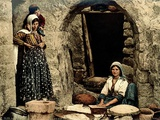 Lebanese Women Making Bread in Front of their House, C.1880-1900 Photographic Print