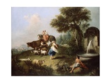 Landscape with a Fountain, Figures and Animals Giclee Print by Francesco Zuccarelli
