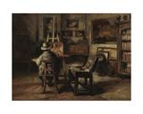 The Studio of Ferdinand De Braekeleer I, Father of the Painter, 1877 Giclee Print by Henri De Braekeleer
