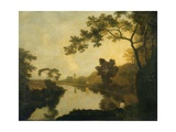 River View with Figures on the Bank, C.1760 Giclee Print by Richard Wilson