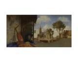 Landscape with a View of Delft and a Musical Insturment Stall Giclee Print by Carel Fabritius