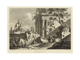 View from a Collection of Six, Engraved by Francois Vivares (1709-80) Giclée-tryk af Marco Ricci