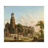 Townspeople Near the Nicolaikerk, Utrecht Giclée-Druck von Jan Hendrik Verheyen
