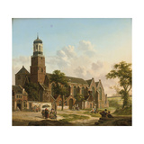 Townspeople Near the Nicolaikerk, Utrecht Giclee Print by Jan Hendrik Verheyen