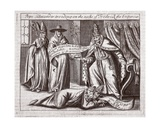 Pope Alexander Treading on the Neck of Emperor Frederick, Illustration from 'Acts and Monuments'… Giclee Print