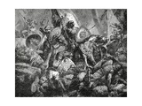 Battle in the Pass of Roncesvalles on 15 August, 778, C.1890 Giclée-Druck von Hermann Vogel