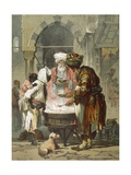 Woman at a Street Fountain (Sebil), from 'stamboul, Souvenir De L'Orient', Published 1865 Giclee Print by Amadeo Preziosi