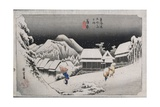 Night Snow, Kambara, Illustration from the Series 'Fifty-Three Stations on the Tokaido', C.1834-35 Giclee Print by Ando or Utagawa Hiroshige
