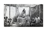Kamrasi's First Lesson in the Bible, Illustration from 'A Journal of the Discovery of the Source… Giclee Print by Josiah Wood Whymper
