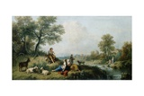A Pastoral Scene with Goatherds, C.1750 Giclee Print by Francesco Zuccarelli