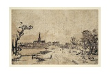 Landscape with Water, the Village of Amstelveen in the Background, C.1654-55 Giclee Print by  Rembrandt van Rjin